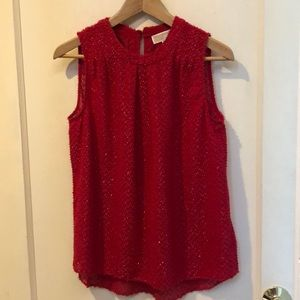 Michael Kors red sparkle thread sleeveless blouse